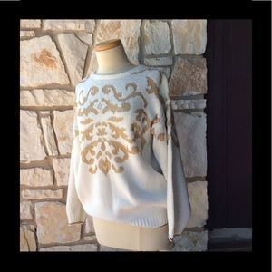 Sweaters - Vintage gold florentine 80's slouch sweater